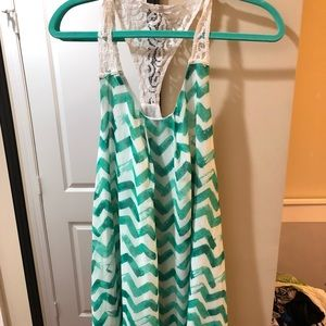Green and white chevron dress